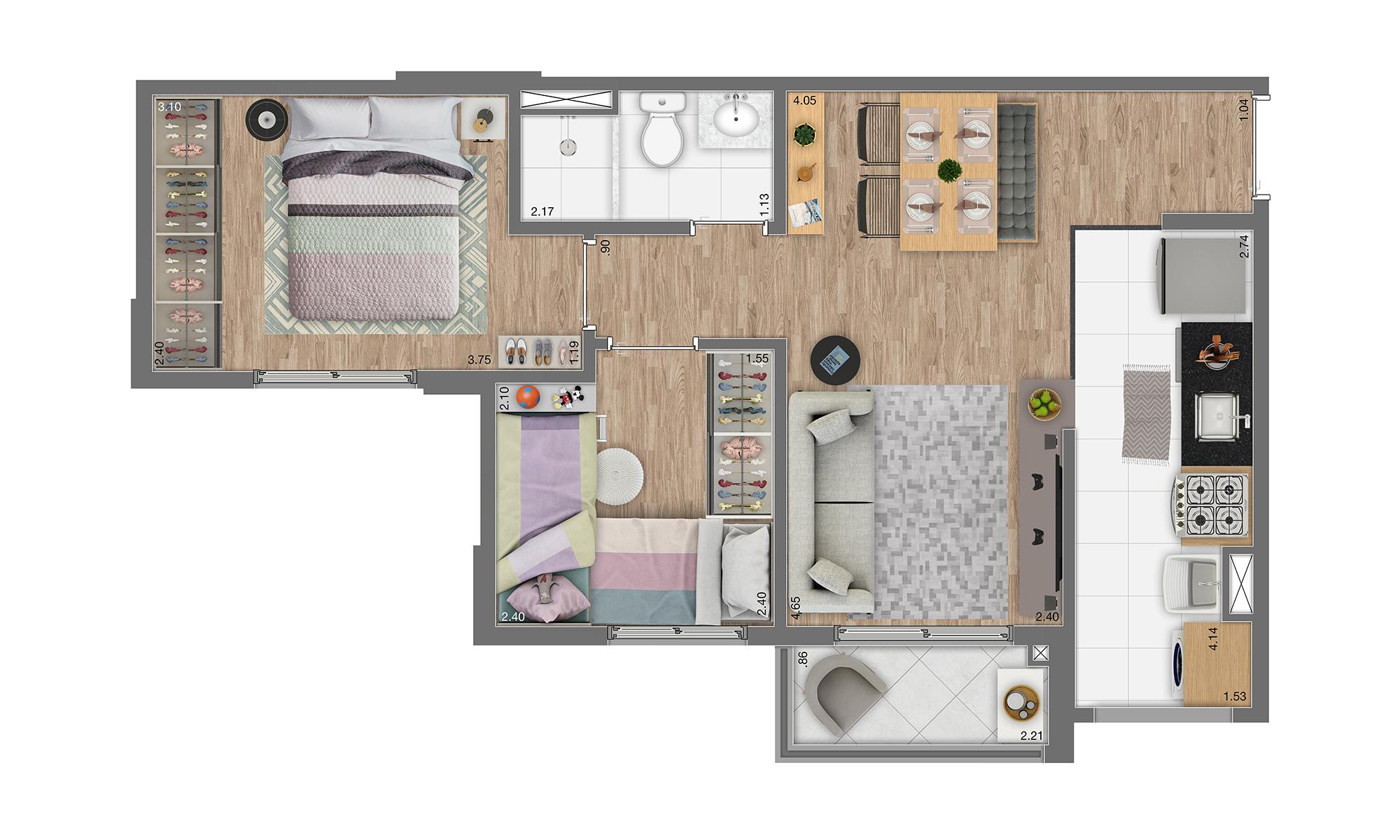 Planta 45m² - 2 Dorms.