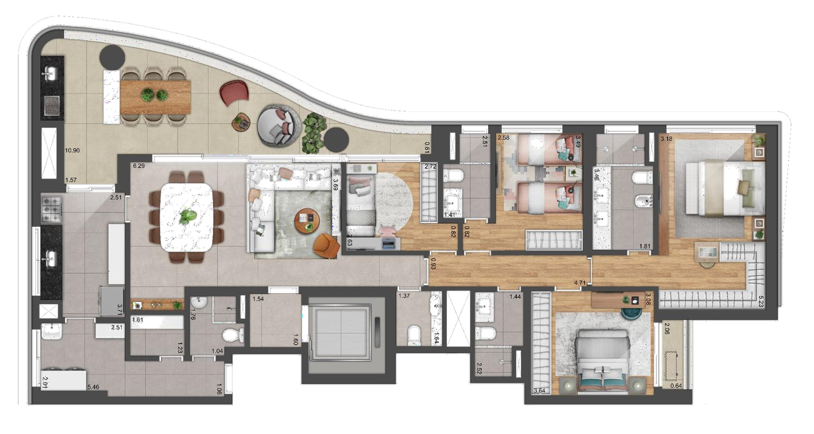 Planta 180m² - 4 Dorms.