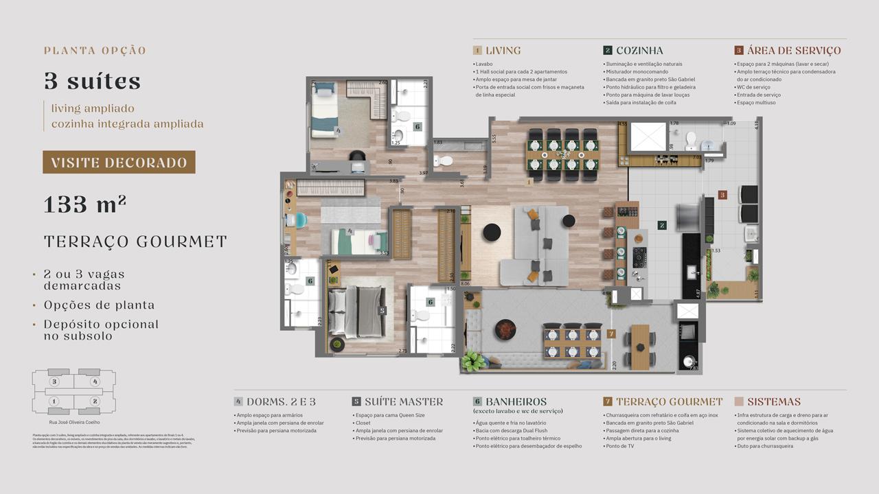 Planta 133m² - 3 Suítes - Living Ampliado - Cozinha Integrada Ampliada